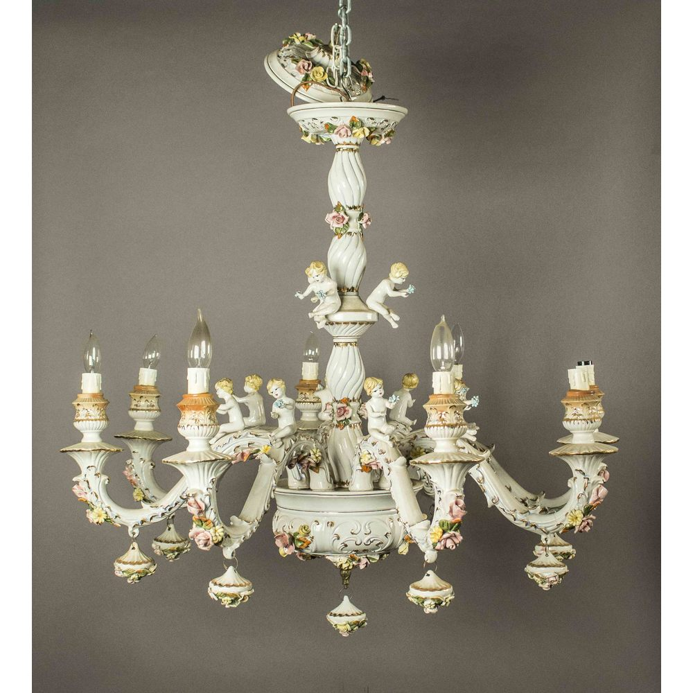Dresden porcelain chandelier witherells auction house dresden porcelain chandelier hover to zoom arubaitofo Images