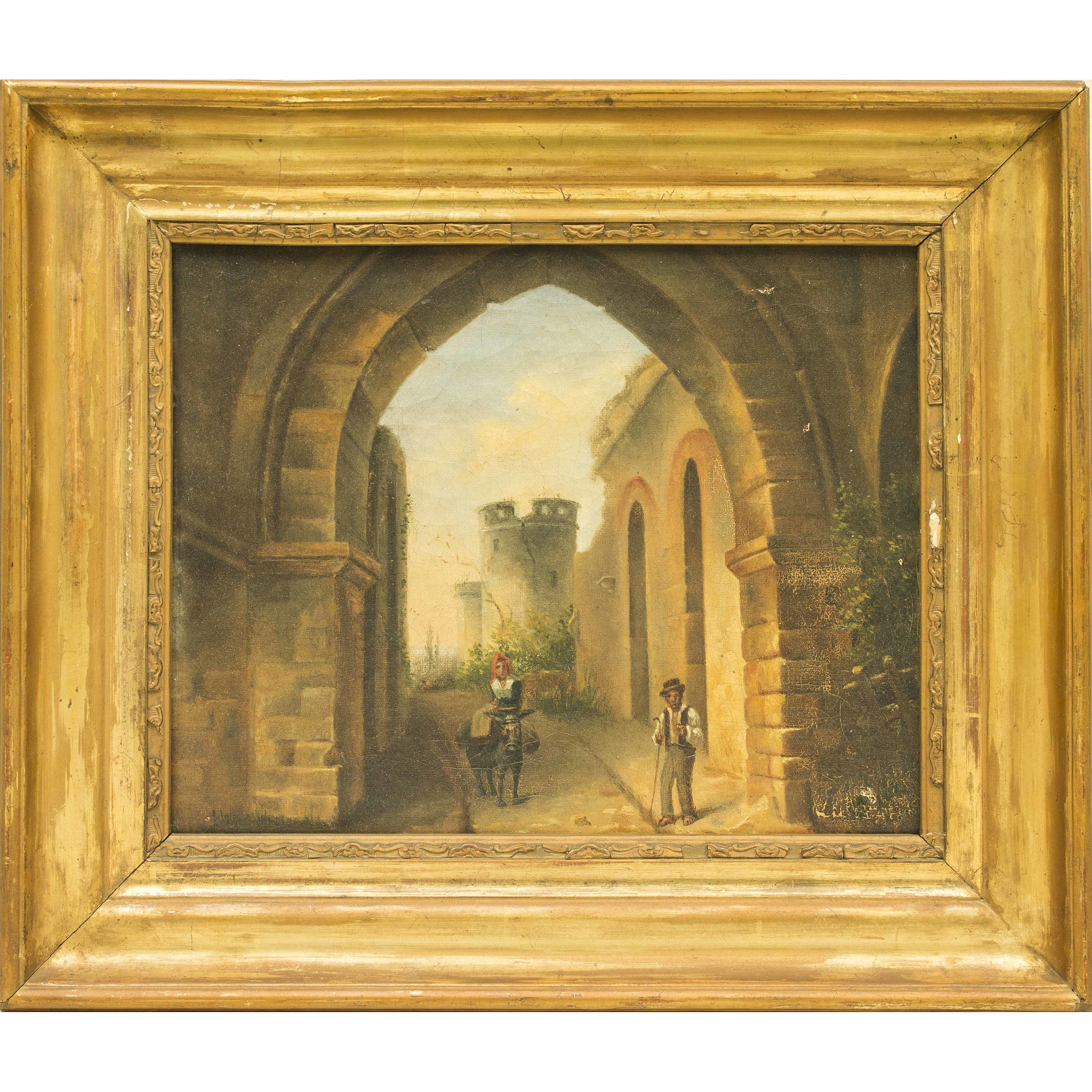 Genre Painting of a Rustic European Town | Witherell's Auction House