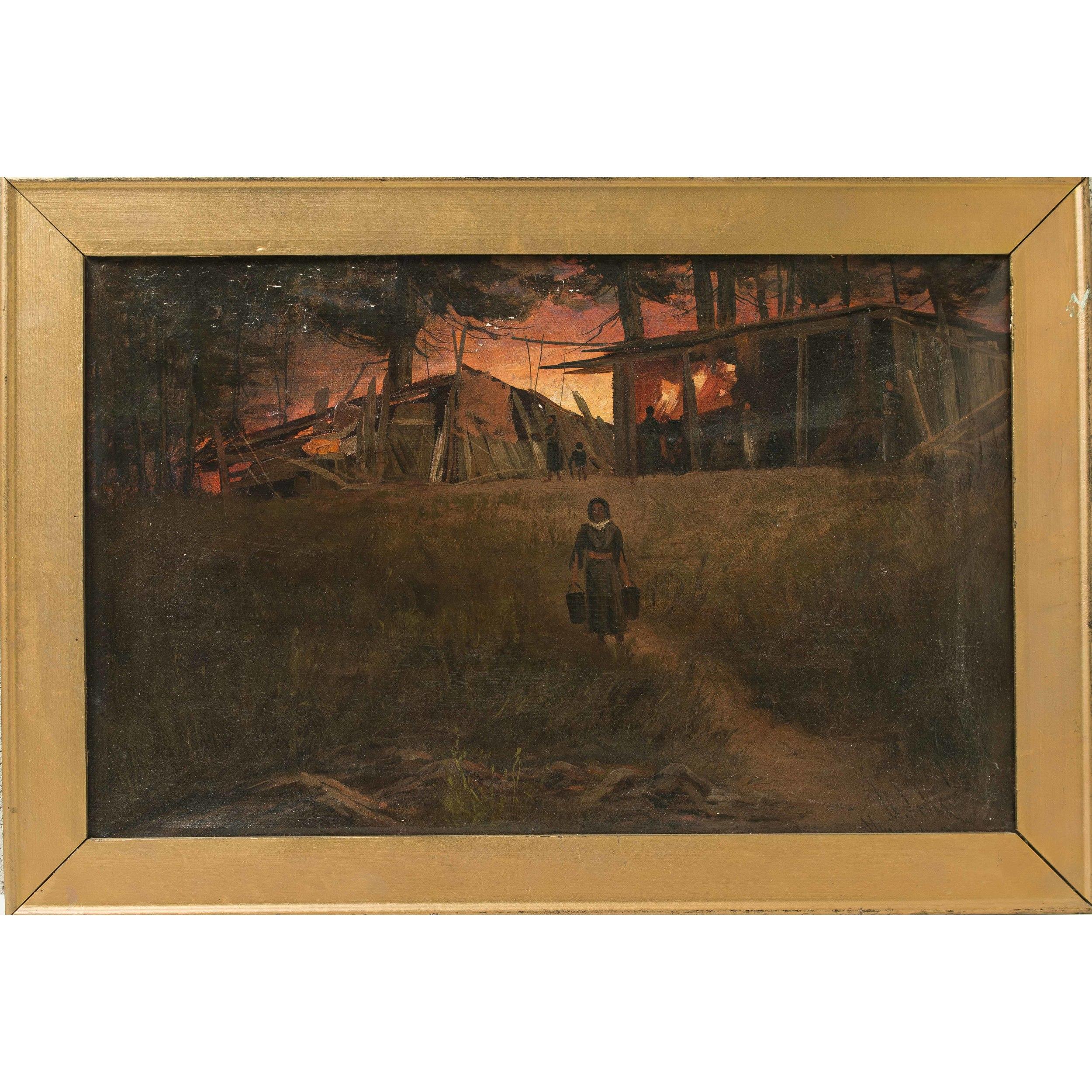 "James Stuart Painting ""Indian Shack Green River WA, 1891 ..."