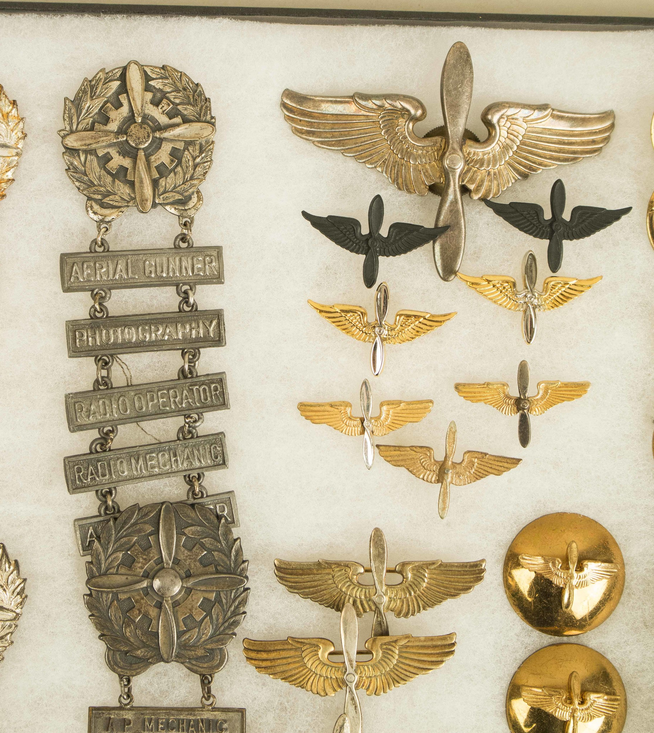 US Army Air Corps Insignia, some British, some sterling, many rare