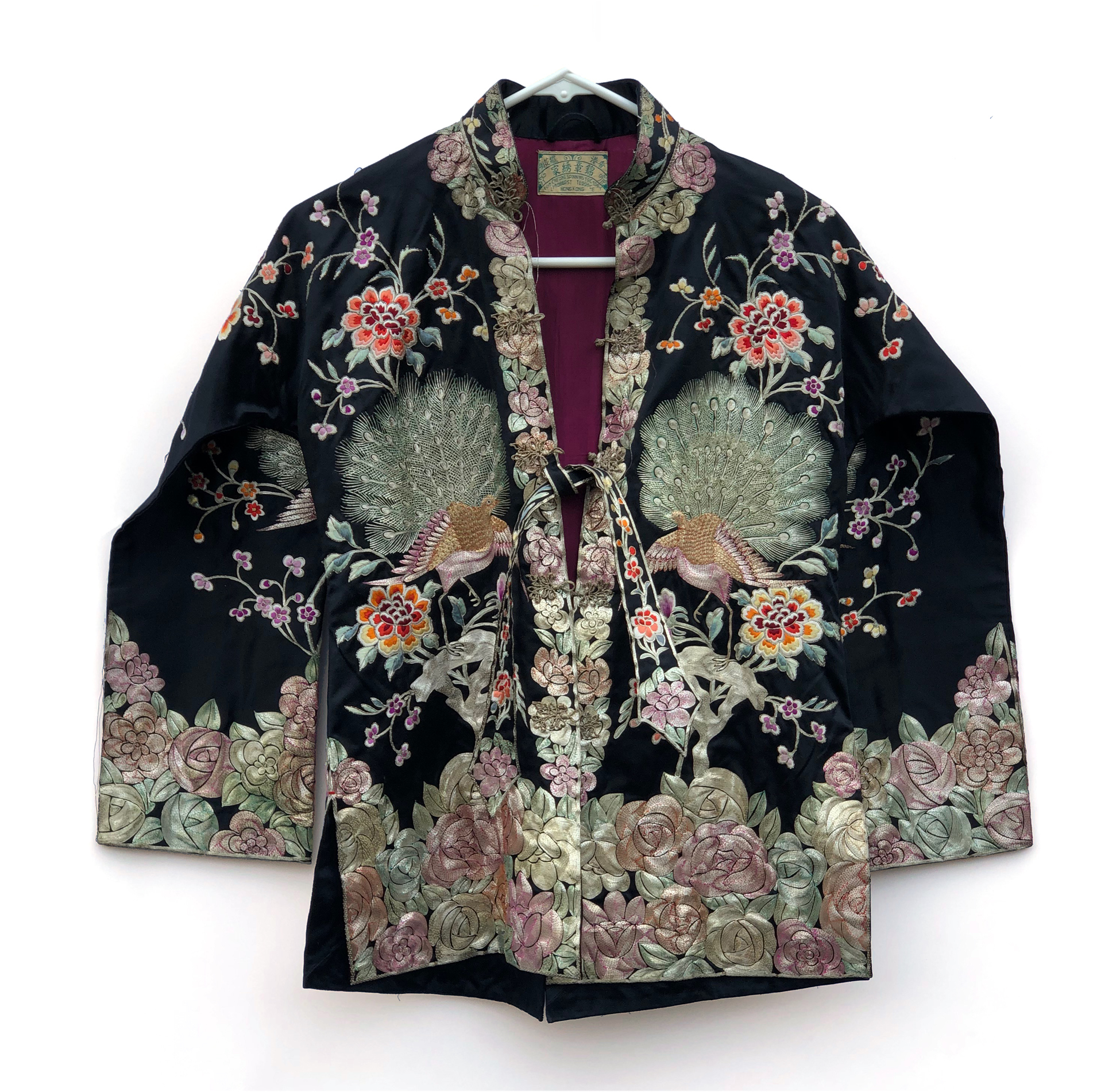 Chinese Black Silk Embroidered Jacket Witherell S Auction House