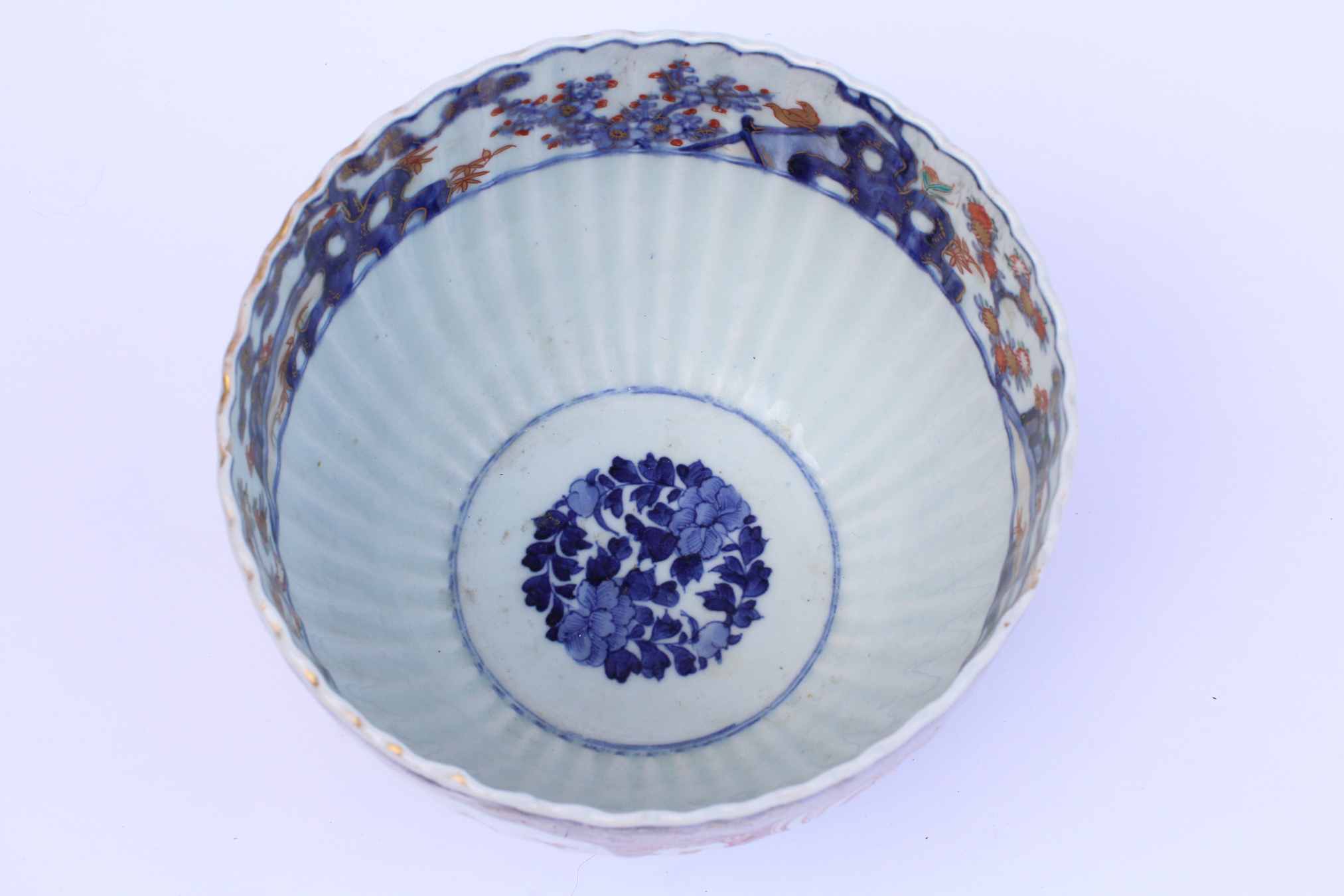 Small 19th Century Fluted Japanese Porcelain Bowl, Imari