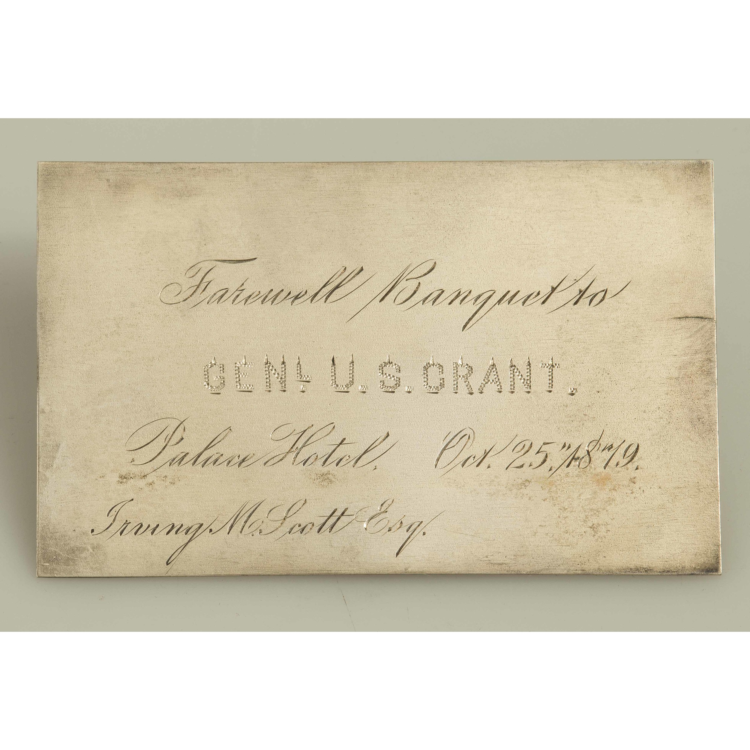 sterling place card for the san francisco farewell banquet