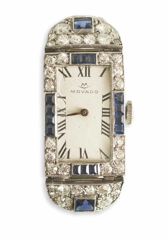 Lady's Movado Diamond & Sapphire Art Deco Watch
