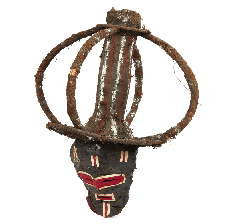 Chokwe, Angola, Fiber Mask with Large Superstructure