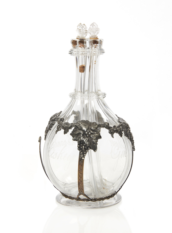 Divided Liquor Decanter with Grapes