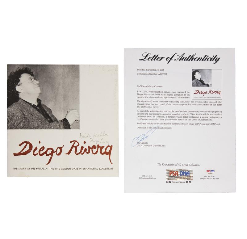 Diego Rivera and Frida Kahlo Autographed Brochure