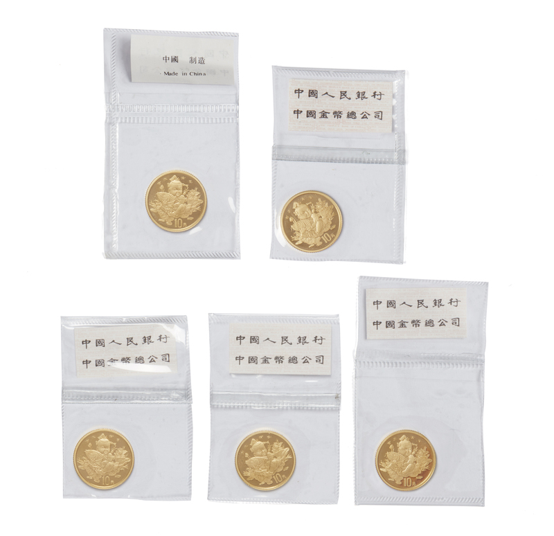 Five 1 1/10 Chinese Gold Coins