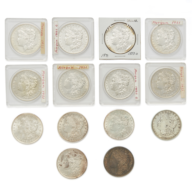 Fourteen Morgan Silver Dollars