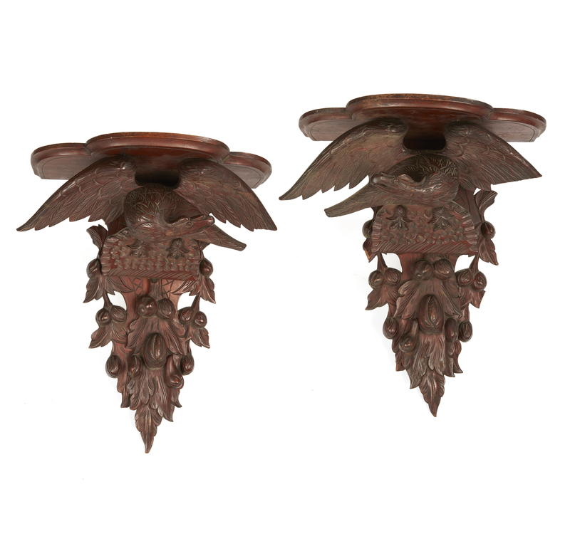 Pair 19th Century Walnut Eagle Form Wall Shelves