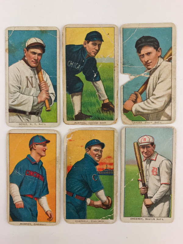 Six 1911 T206 Caporal Delehanty Baseball Cards