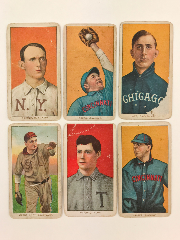 Six 1909-1911 T206 Sweet Caporal Baseball Cards