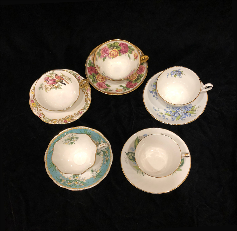 5 Porcelain Teacups and Saucers
