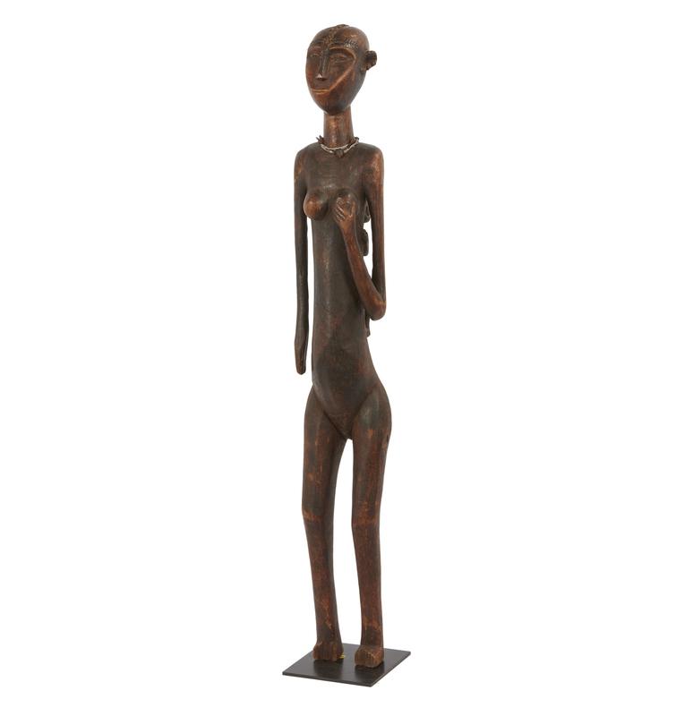 Tanzanian Wood Standing Maternity Figure with Child on Back