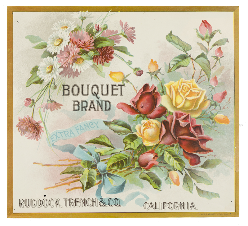 """Fruit Label - """"Bouquet Brand"""" Extra Fancy by Ruddock, Trench & Co., California"""