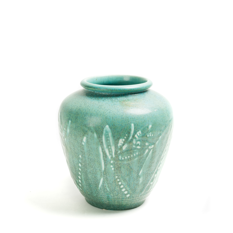 ROOKWOOD Blue-Green Vase w/ Stylized Plant Forms #6218