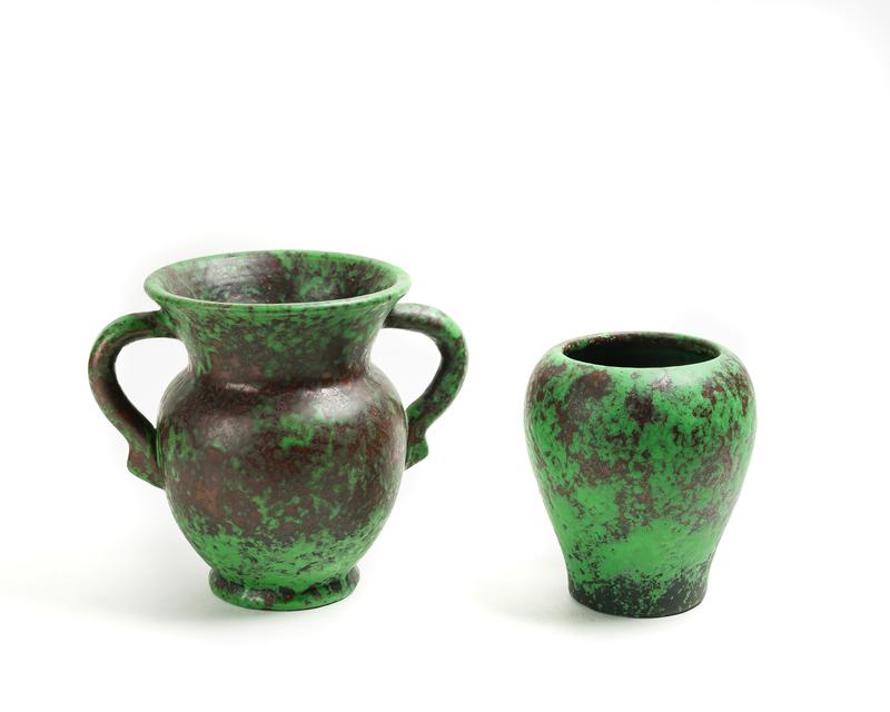 "Two (2) WELLER ""Coppertone"" Vases, one w/Handles"