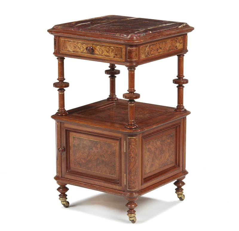 Herter Brothers Night Stand Commissioned for Thurlow Lodge