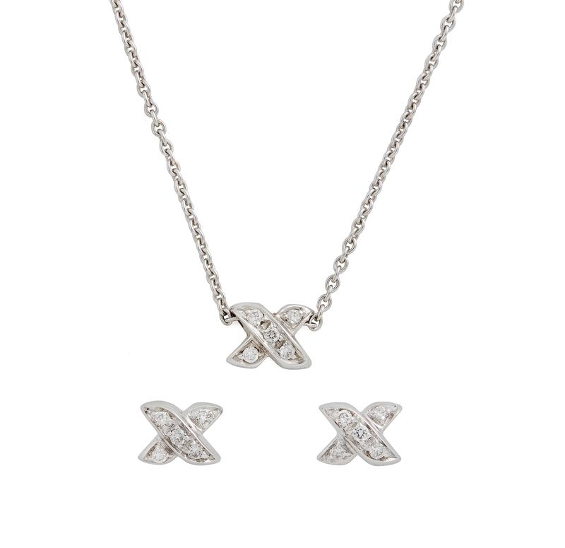 Tiffany & Co Diamond 18k Necklace & Earrings,