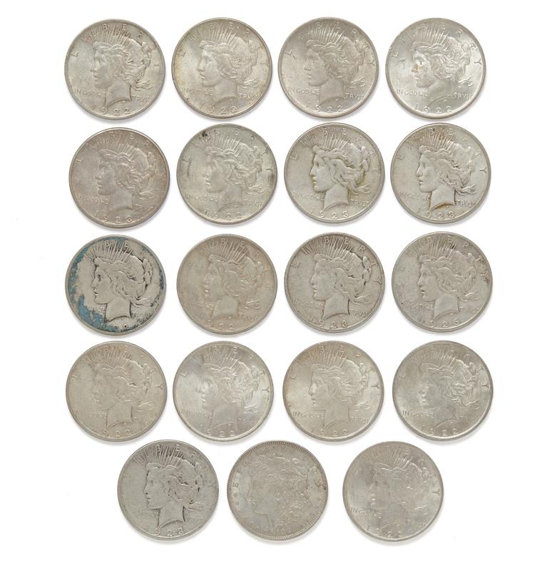19 Silver Dollars (Morgan and Peace)