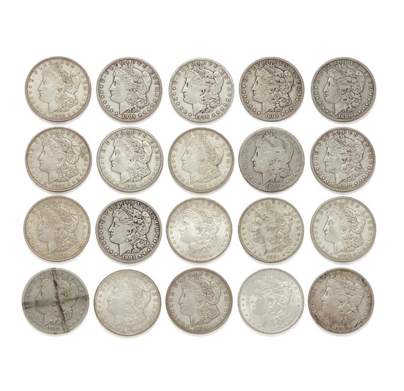 20 Mixed Date Morgan Silver Dollars