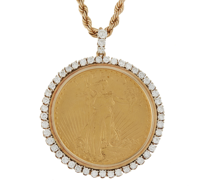 1908 St. Gaudens Gold Coin Pendant and Chain