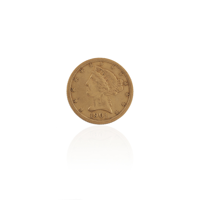1901 Gold Liberty Head $5 Coin