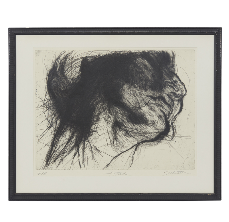 """Sylvia Schuster (20th/21st century) Etching, """"Head"""""""