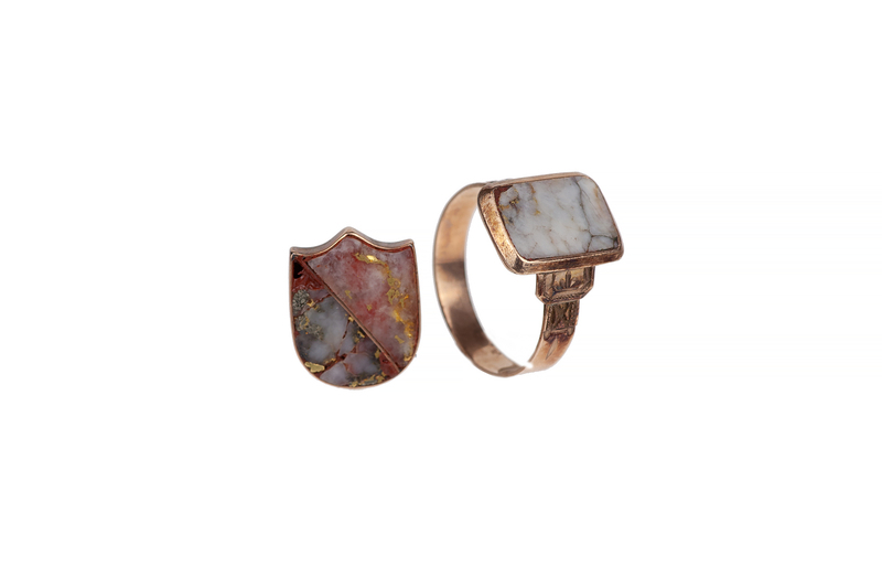 Gold Quartz Ring and Pin Back, 3.7 grams