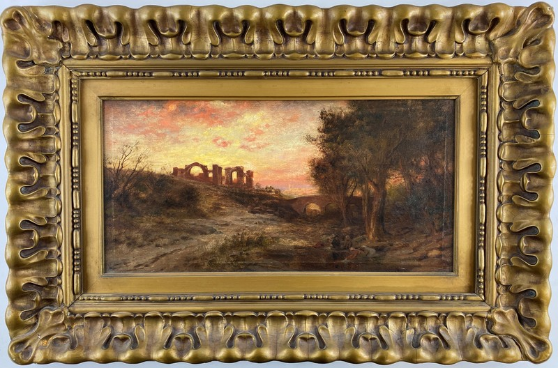 Luminist School Oil on Canvas Landscape with Classical Ruins