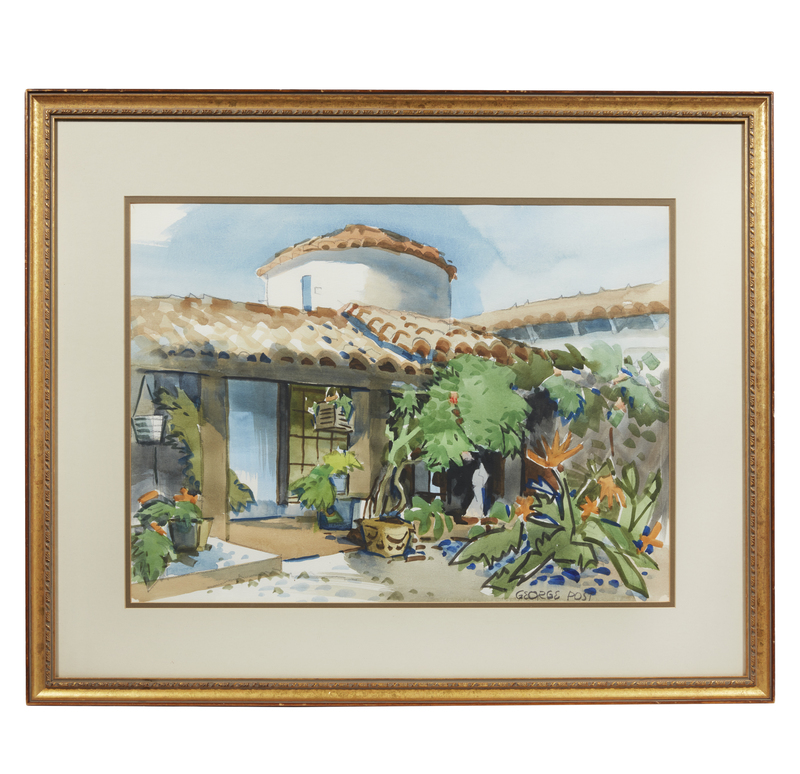 """George Post (1906-1997) Watercolor, """"Redwood City Home"""""""