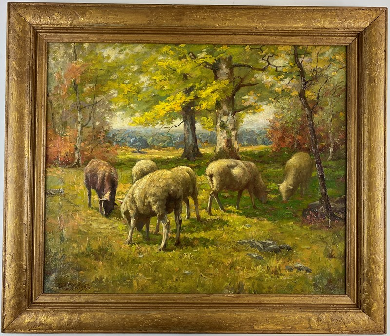 George Henry Denison (American, 1867-1944), Landscape with Sheep