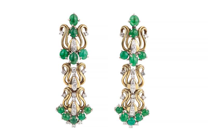 Lady's 18k Diamond Emerald Earrings