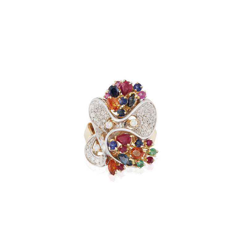 Lady's 18k Diamond Ruby Sapphire and Emerald Ring