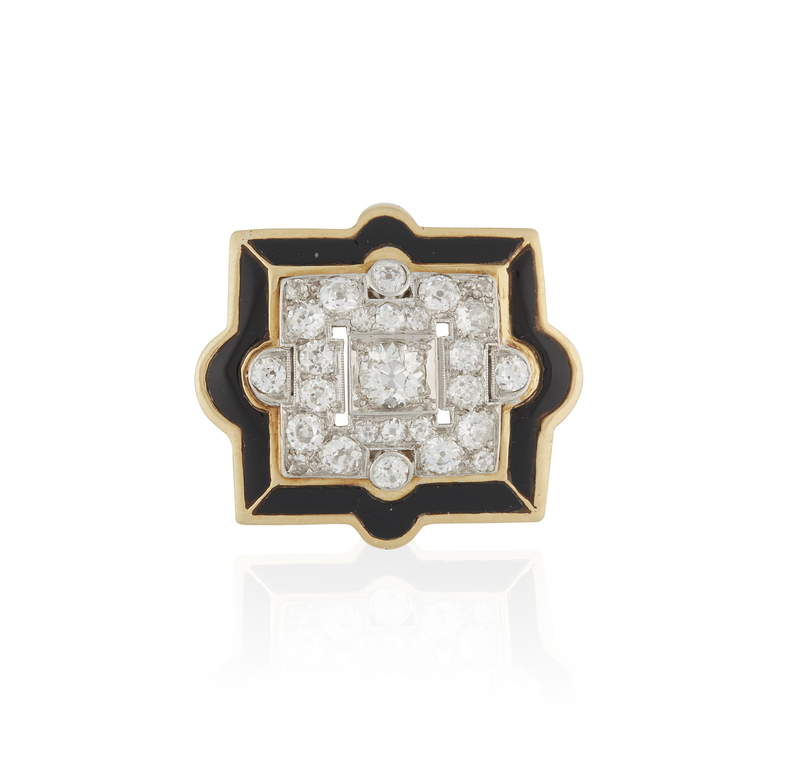 Lady's 18k Diamond Enamel Ring