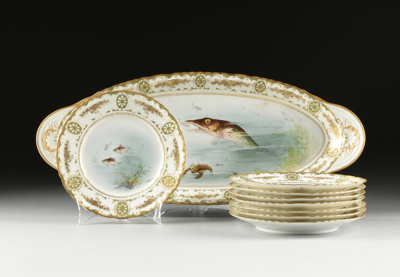 A NINE PIECE FISH PAINTED PORCELAIN SET, BY THEODORE HAVILAND, LIMOGES, FRENCH, LATE 19TH/EARLY 20TH CENTURY,