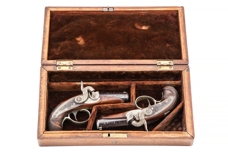 Spectacular Cased Pair of J.E. Evans Philadelphia, Derringers