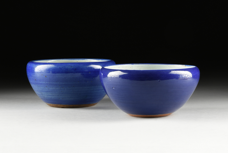 TWO CHINESE MONOCHROME BLUE GLAZED PLANTERS, LATE QING DYNASTY (1644-1912)/EARLY REPUBLIC PERIOD (1912-1949),
