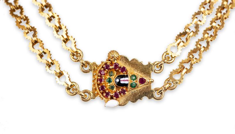 Ruby Emerald 22k Necklace