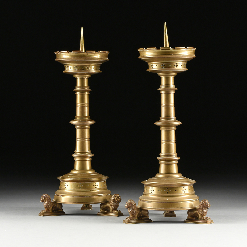 A PAIR OF MEDIEVAL STYLE BRONZE CHURCH ALTAR PRICKET STICKS, POSSIBLY ITALIAN, LATE 19TH/EARLY 20TH CENTURY,