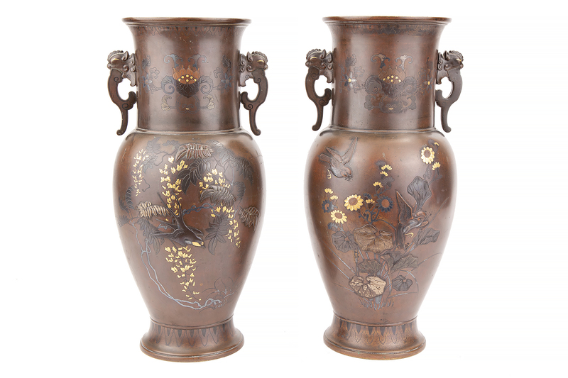 Pair of Japanese Mixed Metal Vases