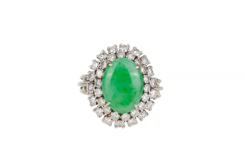 Jade & Diamond 14k Ring