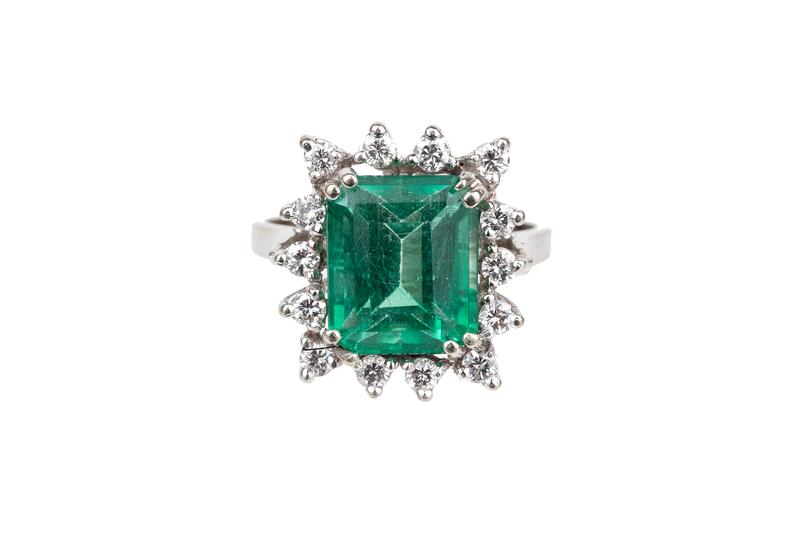 Emerald & Diamond 14k Ring