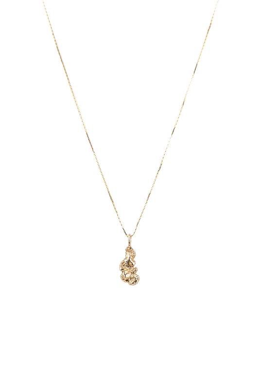 14k Gold Necklace with Cast Nugget Pendant