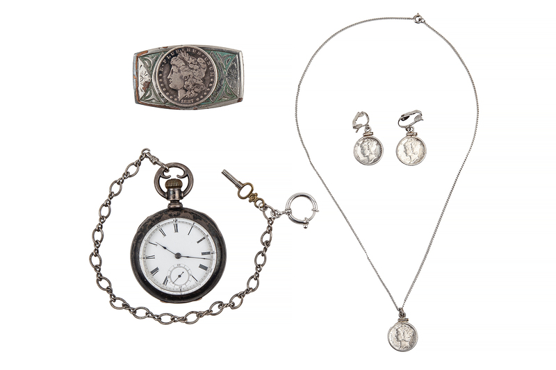 Assorted Silver Jewelry and Coins