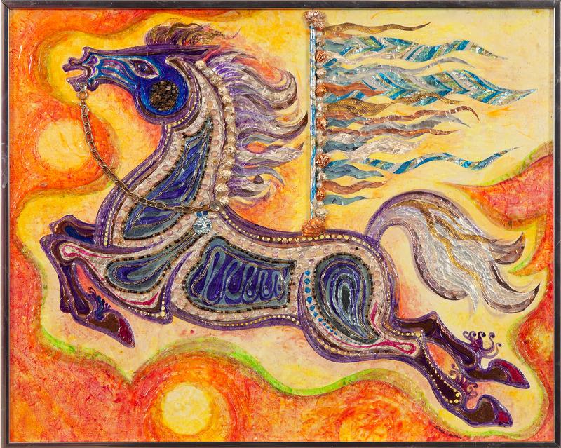 "Irene Lagorio Mixed Media, ""Carousel Horse in Flight"""