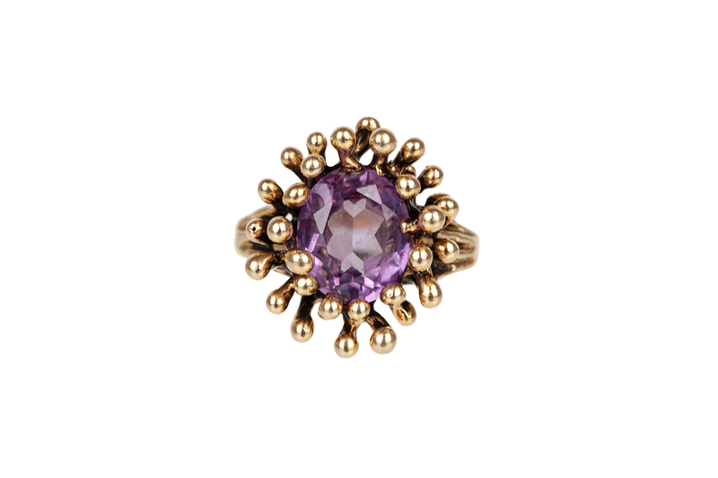 Synthetic Sapphire 14k Ring
