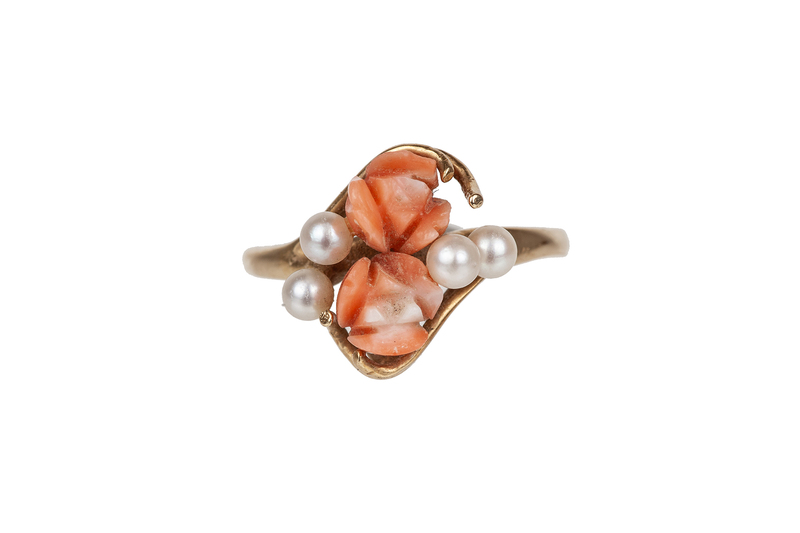 14k Gold, Pearl and Coral Ring, 3.7 grams