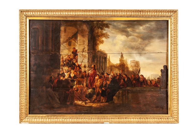Workshop of Jakob De Wet (1641-1697) Painting, Entry of Christ into Jerusalem