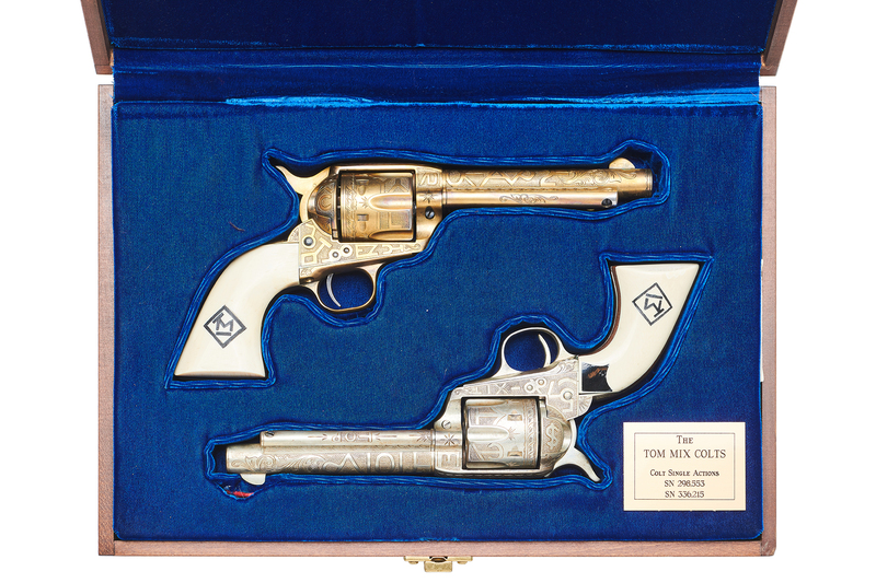 Tom Mix's Composed Pair of Cole Agee Custom Engraved Colt Single Action Army Revolvers